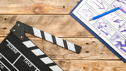 video production storyboard and clapper