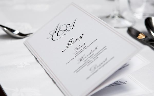 When the food has been selected create the food and beverage menus for your wedding